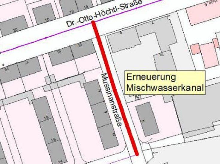 Übersichtsplan Baubereich Mussinanstraße